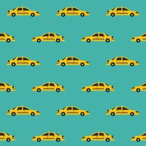 taxi yellow cab new york city tourist travel fabric teal