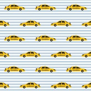 taxi yellow cab new york city tourist travel fabric blue stripe
