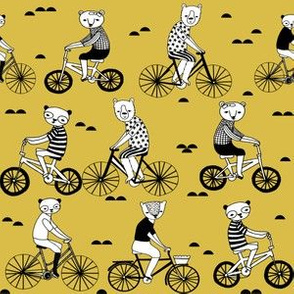 bears on bikes // mustard yellow bicycle fabric cute childrens illustrations by andrea lauren childrens bicycles