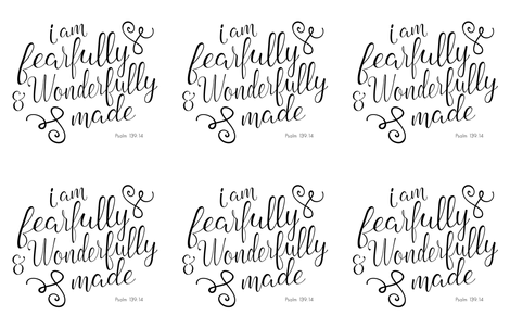 "Lovey layout ( 6 per 56"" yard) Fearfully and Wonderfully Made fabric by littlearrowdesign on Spoonflower - custom fabric"