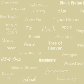 Tree Names (Cream on Ecru)