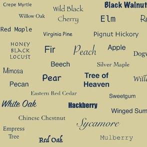 Tree Names (Indigo on Ecru)