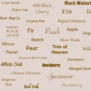 Tree Names (Burnt Sienna on Blush)