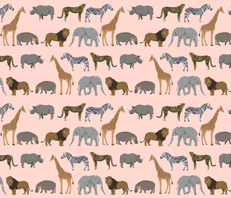 safari animals fabric safari nursery design light blush nursery - smaller fabric by charlottewinter on Spoonflower - custom fabric