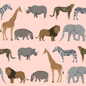 safari animals fabric safari nursery design light blush nursery - smaller