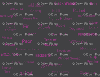 Tree Names (Magenta on Charcoal)
