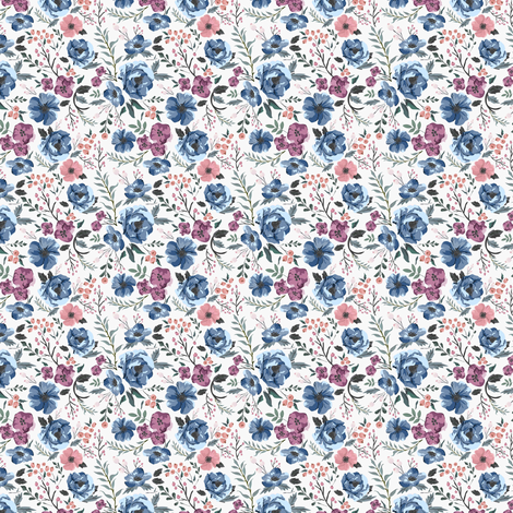 MINI Berry Meadow Floral on Cream fabric by sweeterthanhoney on Spoonflower - custom fabric