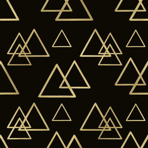 Gold triangles on black