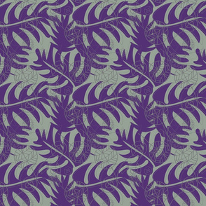 PURPLE, SAGE GREEN, DARK GRAY, LEAF SHAPES