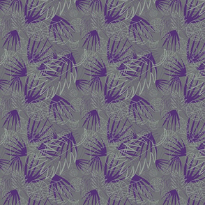 PURPLE, SAGE GREEN, LIGHT GRAY, PALM LEAFS
