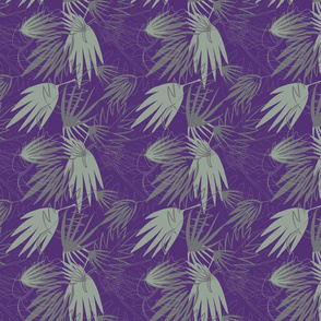 PURPLE, SAGE GREEN, DARK GRAY, PALM LEAFS