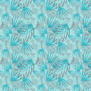 DARK GRAY, LIGHT BLUE, AQUA BLUE, LEAF OUTLINES