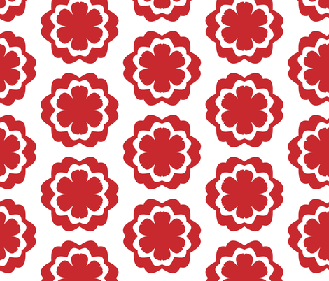 Chinese red and white flower pattern fabric by another_village on Spoonflower - custom fabric
