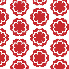 Chinese red and white flower pattern