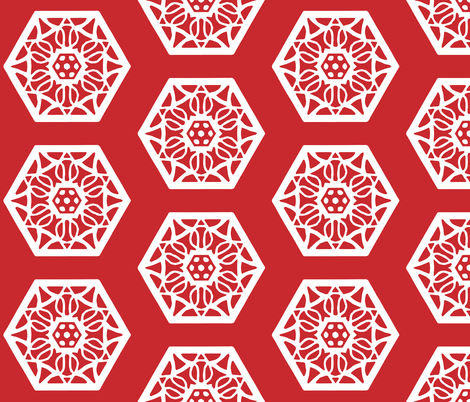 Chinese delicate red and white pattern fabric by another_village on Spoonflower - custom fabric