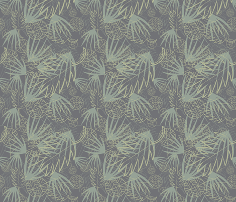 SAGE GREEN, LIGHT GRAY, DARK GRAY PALM LEAFS 2 fabric by jezpokili on Spoonflower - custom fabric