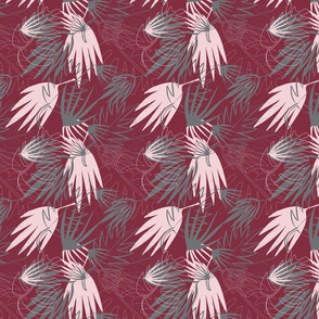 MAROON, GRAY, PINK PALM LEAFS 2