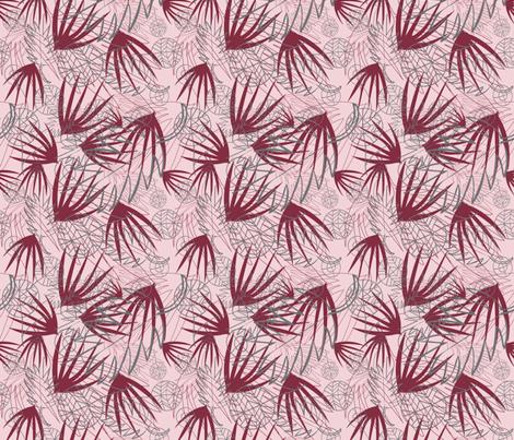 MAROON, GRAY, PINK PALM LEAFS fabric by jezpokili on Spoonflower - custom fabric