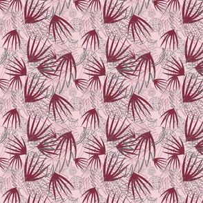 MAROON, GRAY, PINK PALM LEAFS