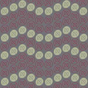RED, GRAY, SAGE GREEN TARGE CIRCLES