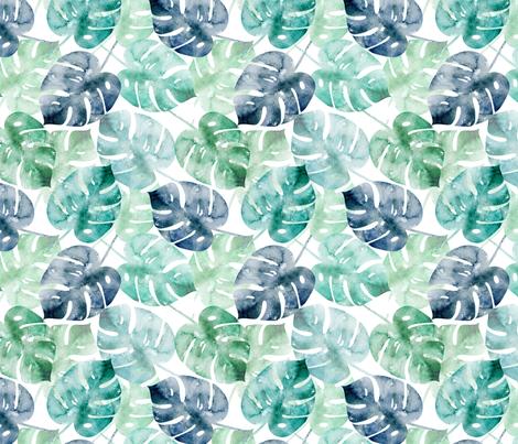 Watercolor Monstera fabric by kimsa on Spoonflower - custom fabric