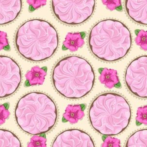 cakes with pink cream and flower