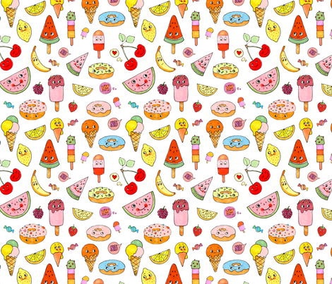 Donuts and Ice Cream fabric by lucy_&_me on Spoonflower - custom fabric