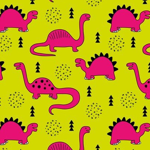Adorable quirky dino illustration geometric dinosaur animals for kids black and white girls hot pink lime