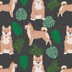 shiba inu monstera palm leaf tropical dog fabric dark