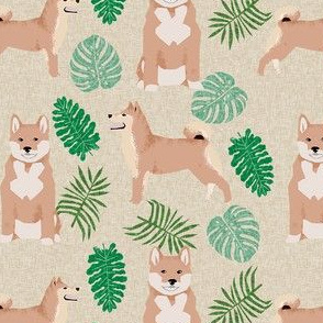 shiba inu monstera palm leaf tropical dog fabric tan