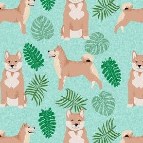 shiba inu monstera palm leaf tropical dog fabric mint