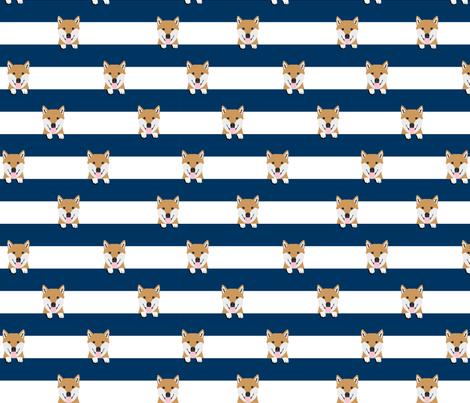 shiba inu stripes dog breed pet fabric navy fabric by petfriendly on Spoonflower - custom fabric