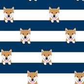 shiba inu stripes dog breed pet fabric navy
