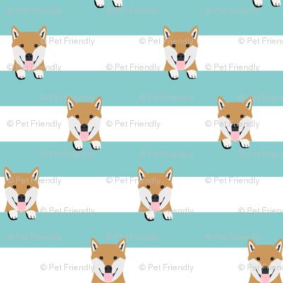 shiba inu stripes dog breed pet fabric minty