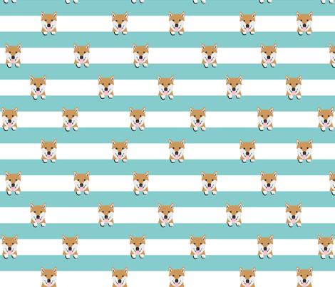 shiba inu stripes dog breed pet fabric minty fabric by petfriendly on Spoonflower - custom fabric