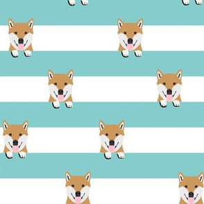 shiba inu stripes dog breed pet fabric minty