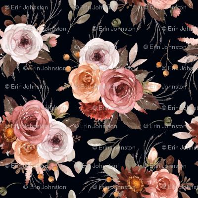 Vintage Roses Edition 1 Black Background || Floral Burgundy Apricot Pink White