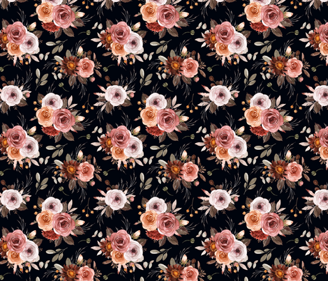 Vintage Roses Edition 1 Black Background || Floral Burgundy Apricot Pink White fabric by erin__kendal on Spoonflower - custom fabric
