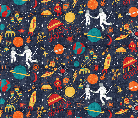 Far Out Space Exploration  fabric by scarlette_soleil on Spoonflower - custom fabric