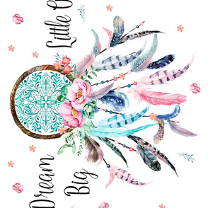 "42""x21"" / Illustration 21""x28"" / Pillowcase / Pink &  Aqua Dream Catcher Dream Big"