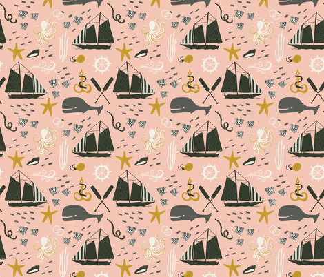 Sail Away - Marine Life fabric by scarlette_soleil on Spoonflower - custom fabric