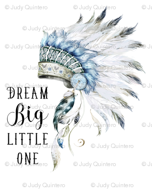 """42""""x54""""/  2 to 3 Yards of 42"""" Wide Fabric /  Little Chief Dream Big"""