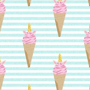 unicorn ice cream stripes food fun fabric blue