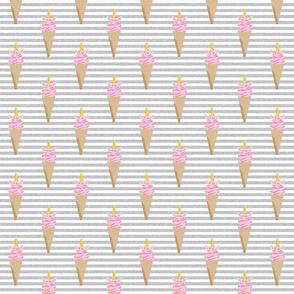 unicorn ice cream stripes food fun fabric grey