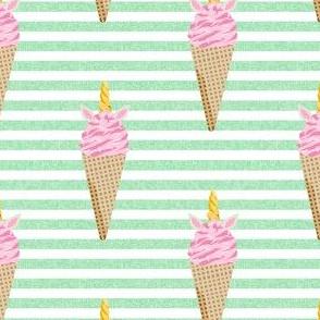 unicorn ice cream stripes food fun fabric mint