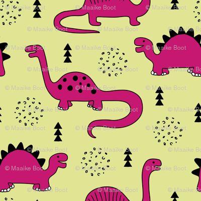 Adorable quirky dino illustration geometric dinosaur animals for kids black and white girls hot pink soft lime