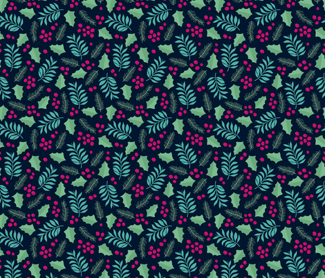 Botanical christmas garden pine leaves holly branch berries navy pink fabric by littlesmilemakers on Spoonflower - custom fabric