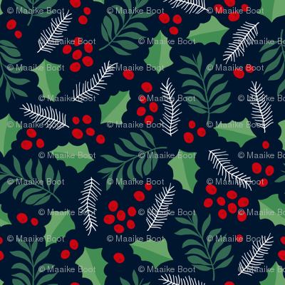 Botanical christmas garden pine leaves holly branch berries green navy