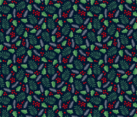 Botanical christmas garden pine leaves holly branch berries green navy fabric by littlesmilemakers on Spoonflower - custom fabric