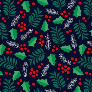 Botanical christmas garden pine leaves holly branch berries green navy